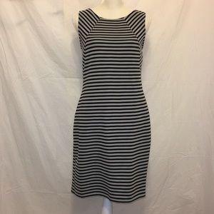 LOFT Striped Gray Black Sleeveless Dress Sz S